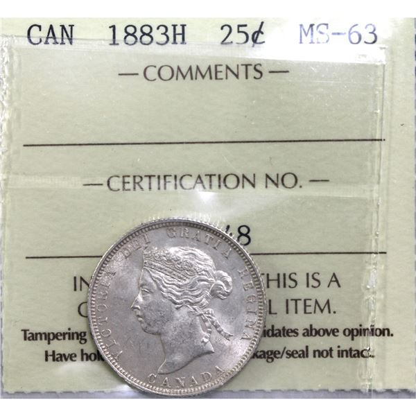 25-cent 1883H ICCS Certified MS-63! Light tones over frosted fields with great details. Worth a prem