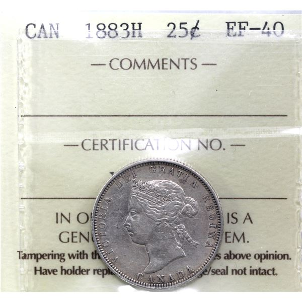 25-cent 1883H ICCS Certified EF-40.