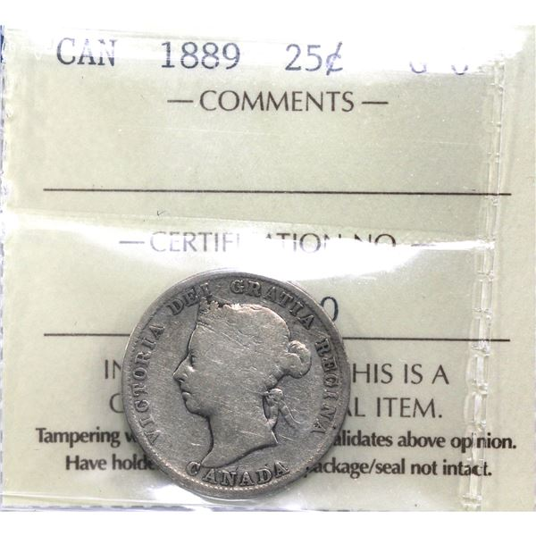 25-cent 1889 ICCS Certified G-6.