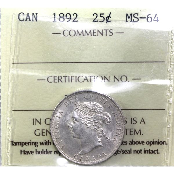 25-cent 1892 ICCS Certified MS-64. A exceptional strike with radiant luster throughout worth a premi