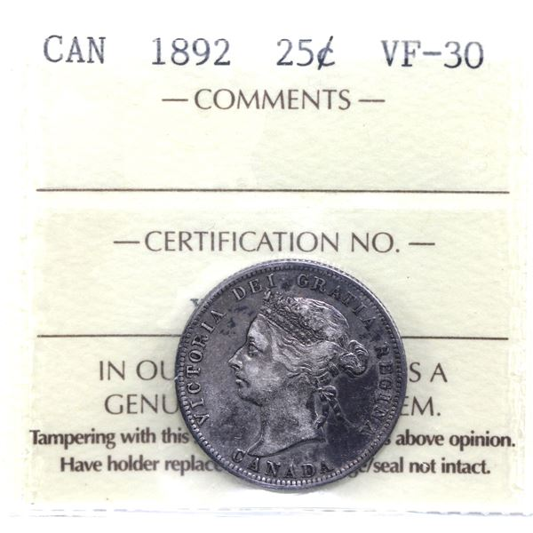 25-cent 1892 ICCS Certified VF-30.
