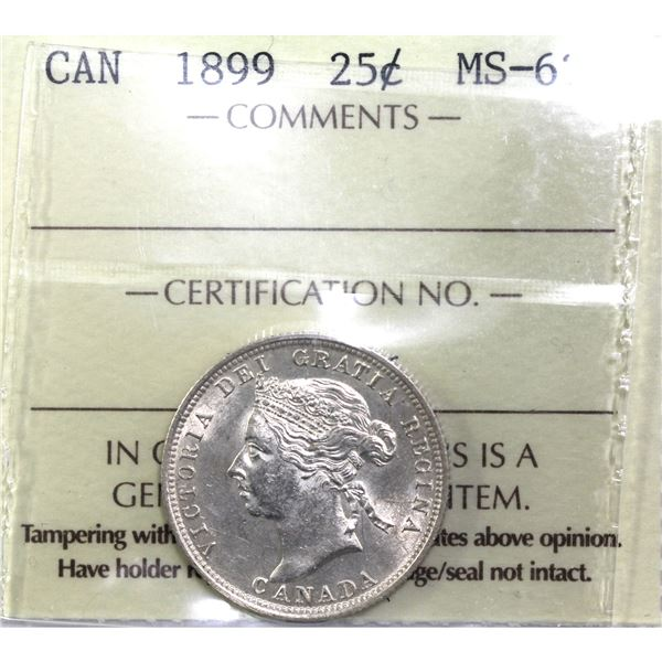 25-cent 1899 ICCS Certified MS-62. an attractive Mint state coin with soft glowing luster throughout