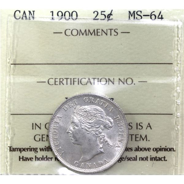 25-cent 1900 ICCS Certified MS-64. A pristine coin with near flawless fields.