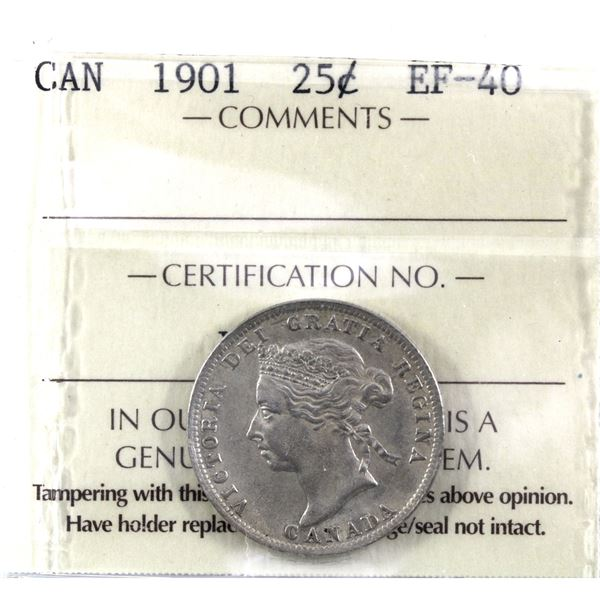 25-cent 1901 ICCS Certified EF-40.