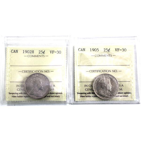 25-cent 1902H & 1905 ICCS Certified VF-30. 2pcs