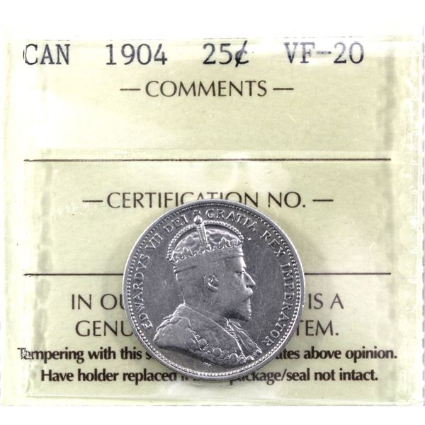 25-cent 1904 ICCS Certified VF-20.