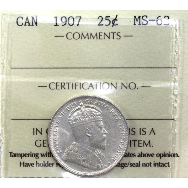 25-cent 1907 ICCS Certified MS-63. Rare in mint-state grades. Worth a premium bid.