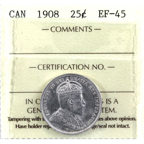 25-cent 1908 ICCS Certified EF-45.