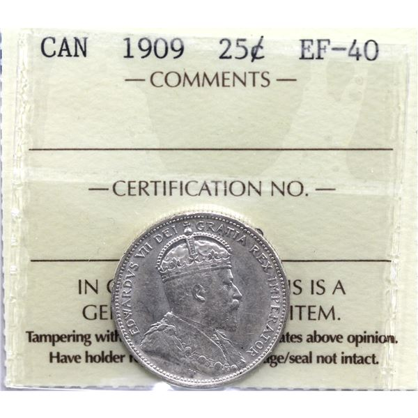 25-cent 1909 ICCS Certified EF-40.