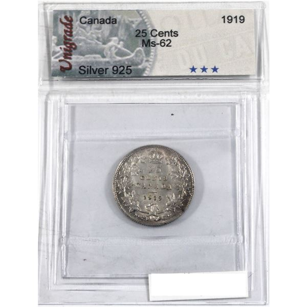 25-cent 1919 Unigrade Certified MS-62. Lightly toned over frosted fields.