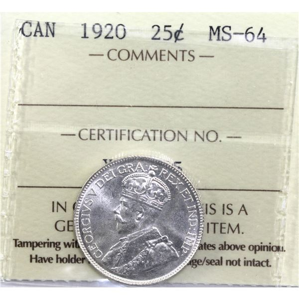 25-cent 1920 ICCS Certified MS-64.