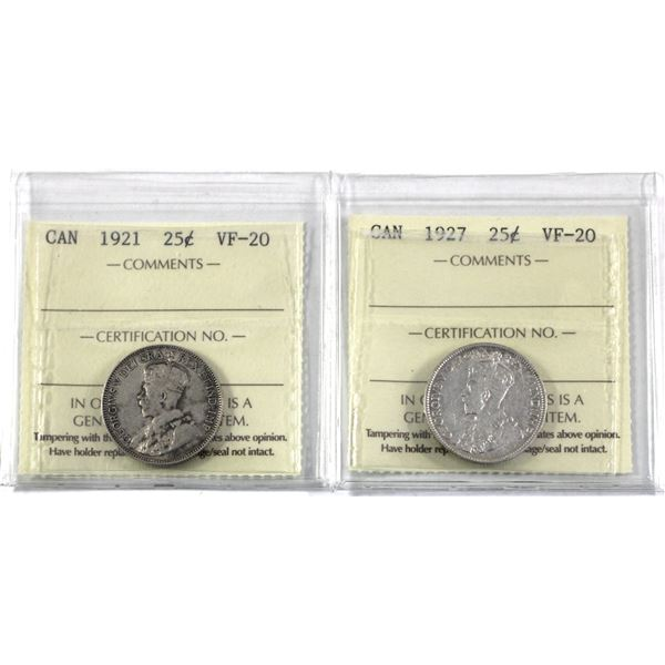 25-cent 1921 & 1927 ICCS Certified VF-20. 2pcs