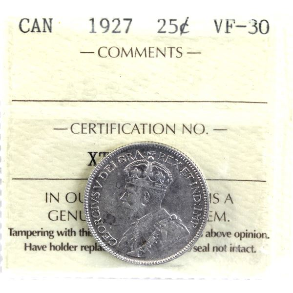 25-cent 1927 ICCS Certified VF-30. *Key Date*! A Nice mid grade example of this sought after date.