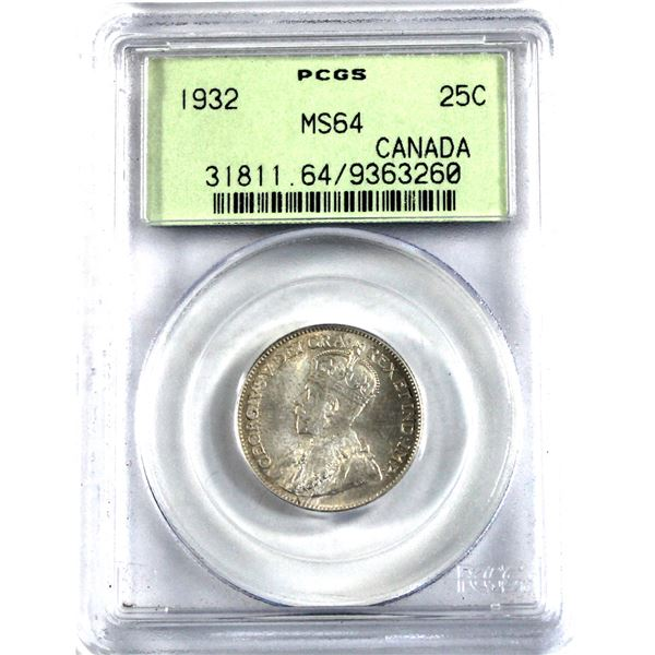 25-cent 1932 PCGS Certified MS-64. Light tones with underlying frosted white fields (In old green la