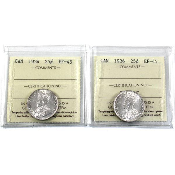 25-cent 1934 & 1936 ICCS Certified EF-45. 2pcs