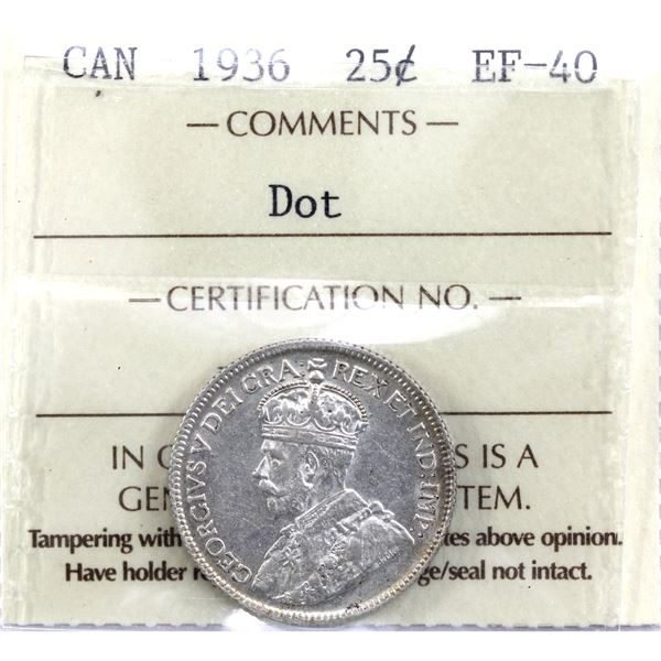 25-cent 1936 Dot ICCS Certified EF-40. A great mid grade example of this variety!