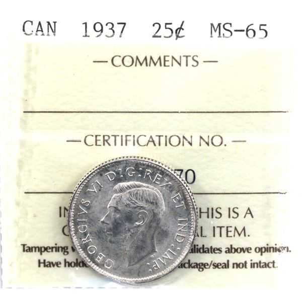25-cent 1937 ICCS Certified MS-65. Natural Light golden tones over frosted fields.