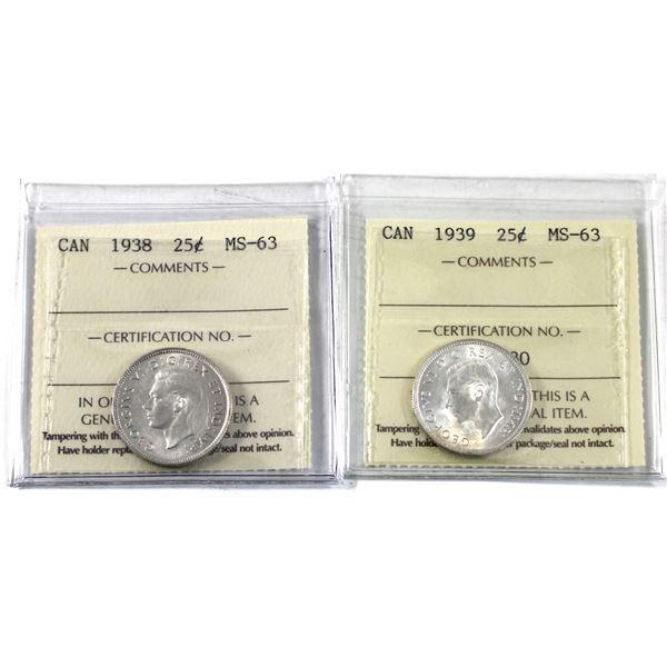 25-cent 1938 & 1939 ICCS Certified MS-63. 2pcs