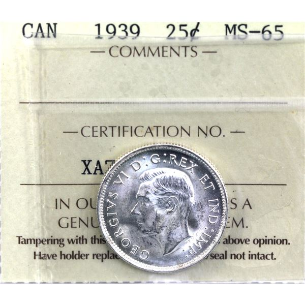 25-cent 1939 ICCS Certified MS-65. A full blast white coin.