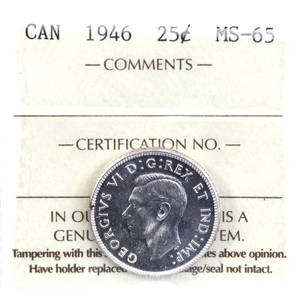 25-cent 1946 ICCS Certified MS-65. Bright flashy coin with choice eye appeal.