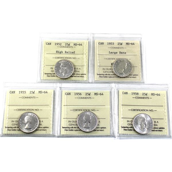 25-cent 1952 High Relief, 1953 Large Date, 1955, 1956 & 1958 ICCS Certified MS-64. 5pcs