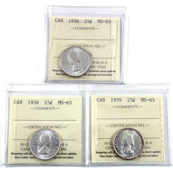 25-cent 1956, 1958 & 1959 ICCS Certified MS-65. 3pcs