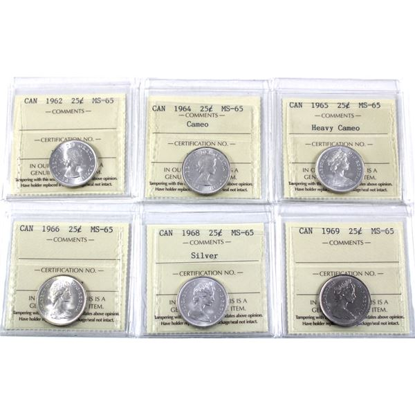 25-cent 1962, 1964 cameo, 1965 Heavy Cameo, 1966, 1968 & 1969 ICCS Certified MS-65. 6pcs