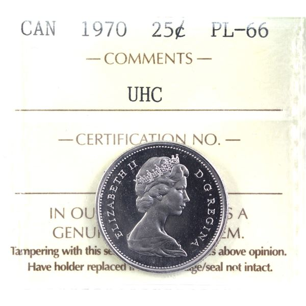 25-cent 1970 ICCS Certified PL-66 Ultra Heavy Cameo.
