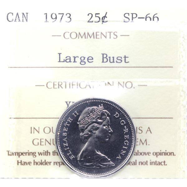 25-cent 1973 Large Bust ICCS Certified SP-66.