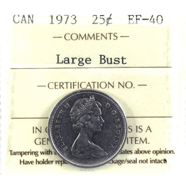 25-cent 1973 Large Bust ICCS Certified EF-40. *Scarce in business strike*