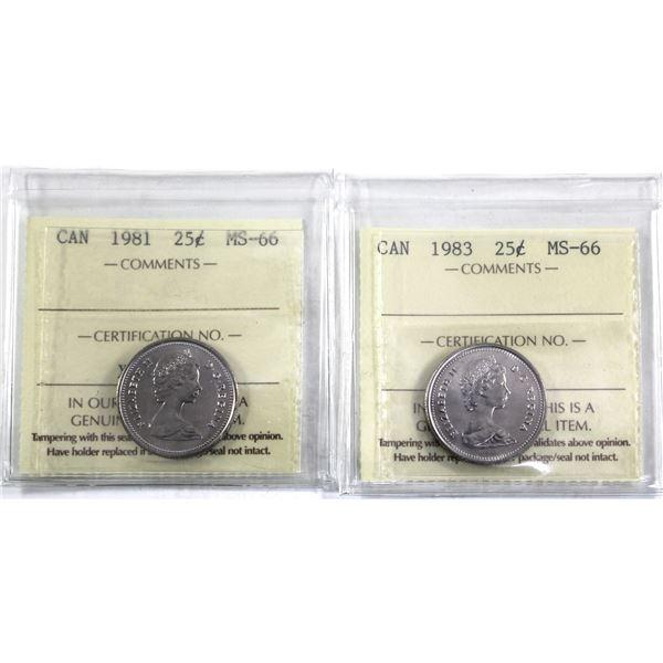 25-cent 1981 & 1983 ICCS Certified MS-66. 2pcs