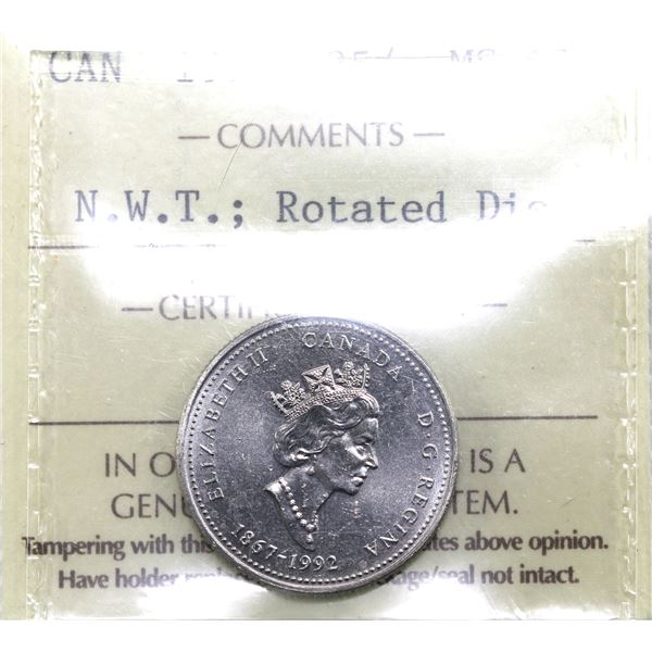 25-cent 1992 N.W.T. Rotated Dies (Approx. 292 degrees) ICCS Certified MS-63.
