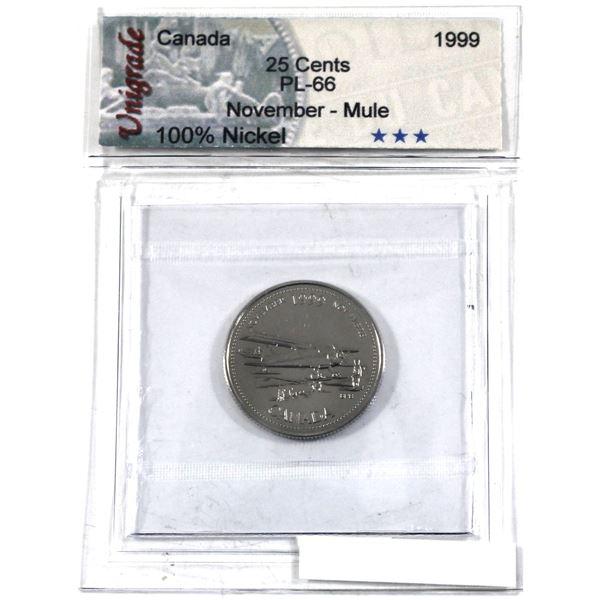 25-cent 1999 November Mule Unigrade Certified PL-66.