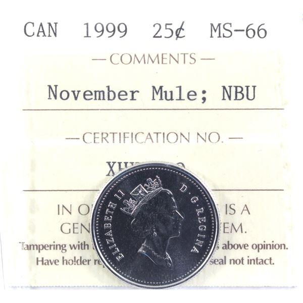 25-cent 1999 November Mule ICCS Certified MS-66 NBU.