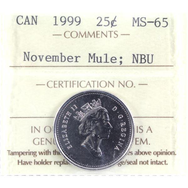 25-cent 1999 November Mule ICCS Certified MS-65 NBU.