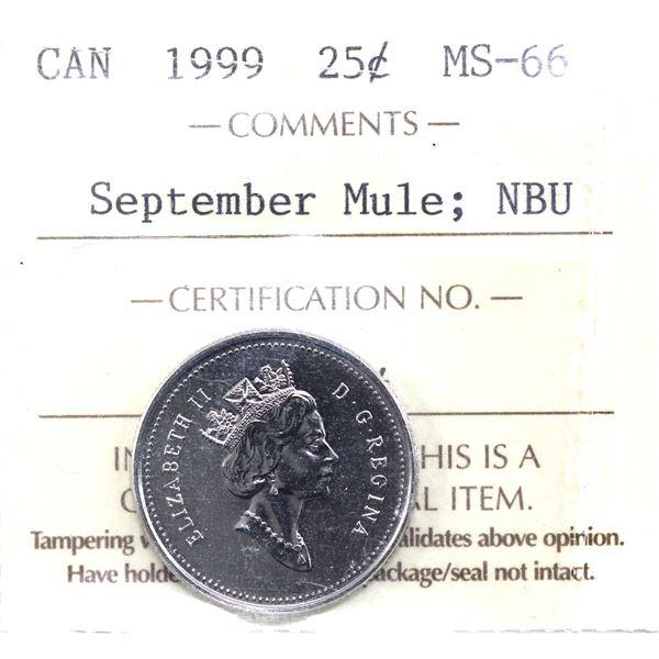 25-cent 1999 September Mule ICCS Certified MS-66 NBU.
