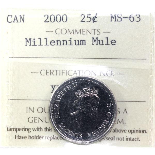 25-cent 2000 Millennium Map Mule ICCS Certified MS-63.