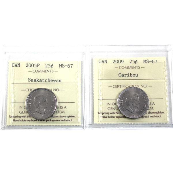 25-cent 2005P Saskatchewan & 2009 ICCS Certified MS-67. 2pcs