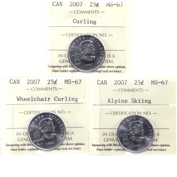 25-cent 2007 Wheelchair Curling, Curling & Alpine Skiing ICCS Certified MS-67. 3pcs