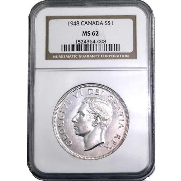 Silver $1 1948 NGC Certified MS-62. A bright flashy key date!