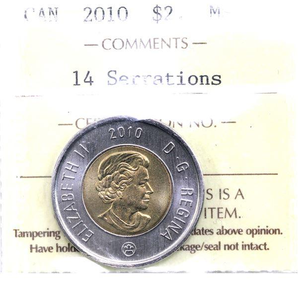 $2 2010 14 Serrations ICCS Certified MS-66.