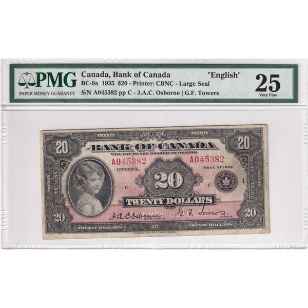 BC-9a 1935 Bank of Canada English $20, Large Seal, Osborne-Towers S/N: A045382-C. PMG Certified VF-2