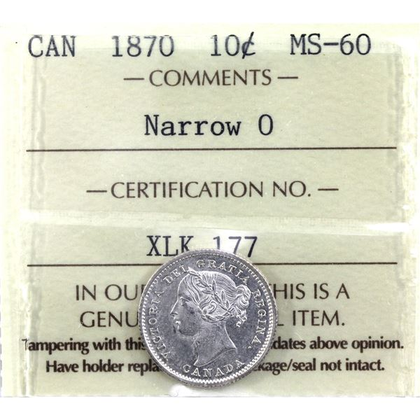 10-cent 1870 Narrow 0  ICCS Certified MS-60.