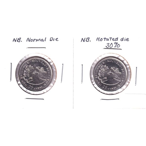 Pair of New Brunswick 25-cents Normal & Rotate Die variety. Rotation is 30 Degree. 2pcs