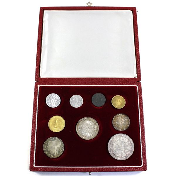 1964 Austria Winter Olympics 9-coin Proof Set in Original Red Display Box with Felt Lining. The 4 si