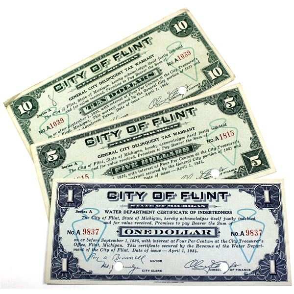City of Flint, Michigan Scrip Notes Issued April 1, 1934. You will receive a $1 Water Department Cer