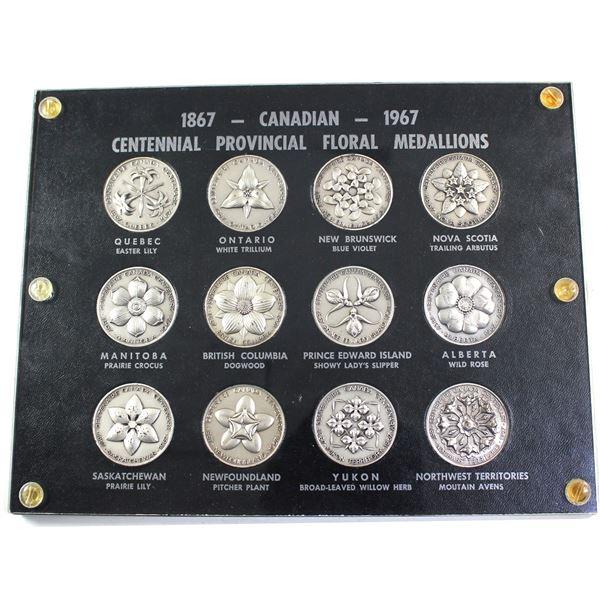 Rare!!! 1867-1967 Canada Centennial Provincial Floral Medallion 12pc Set Made of Pewter.