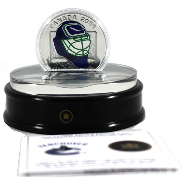2009 Canada $20 Vancouver Canucks NHL Goalie Mask Sterling Silver Coin with Acrylic Stand (Capsule l