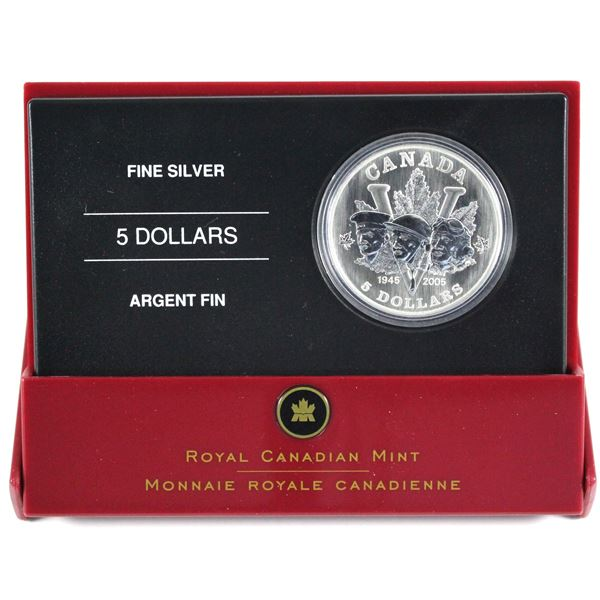 Scarce!!! 2005 Canada $5 End of WWII 60th Anniversary with Double Maple Leaf Privy Mark Fine Silver