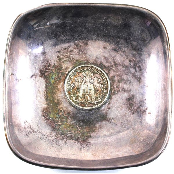 Very Unique!!! 0.925 Sterling Silver Bowl with a 1909 Germany 3 Mark Placed Into the Bottom. One cor